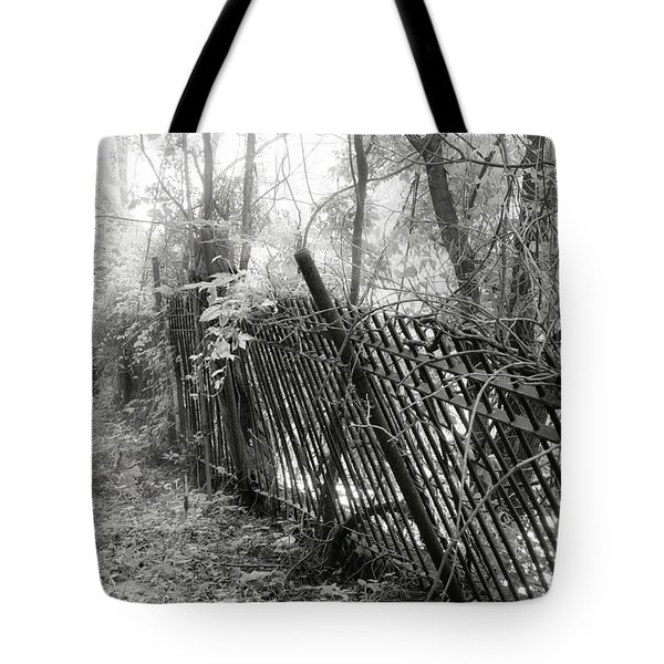 Tote Bag featuring the photograph Leaning Fence by Mary Almond