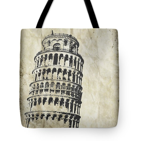 Leaning Tower Of Pisa On Old Paper Tote Bag by Setsiri Silapasuwanchai