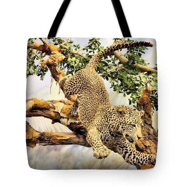 Leaping Leopard Tote Bag by Kristin Elmquist