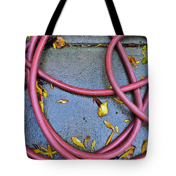 Tote Bag featuring the photograph Leaves And Hose by Bill Owen