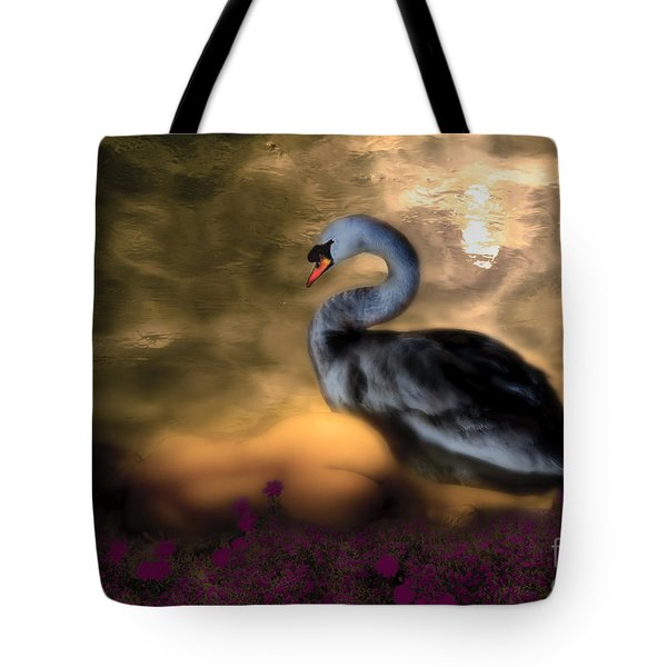 Tote Bag featuring the digital art Leda And The Swan by Rosa Cobos