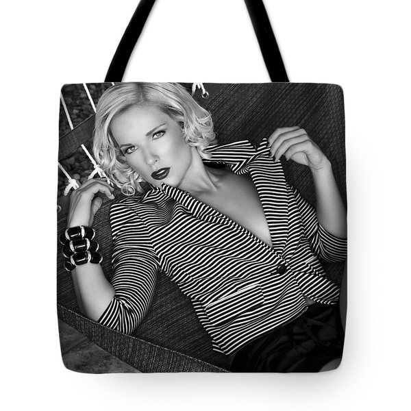 Leisure Class Bw Tote Bag by William Dey