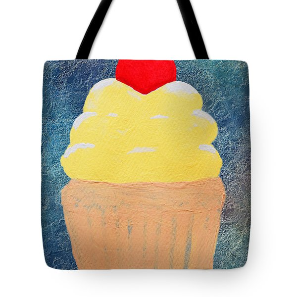 Lemon Cupcake With A Cherry On Top Tote Bag by Andee Design