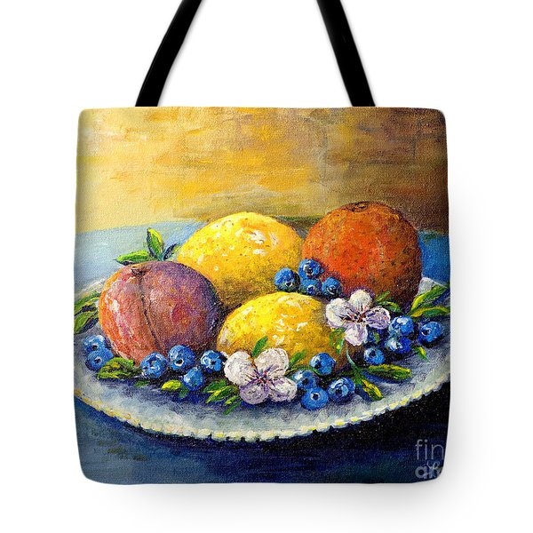 Lemons And Blueberries Tote Bag by Lou Ann Bagnall