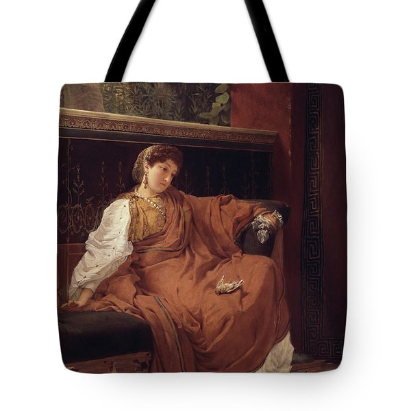 Lesbia Weeping Over A Sparrow Tote Bag by Sir Lawrence Alma-Tadema