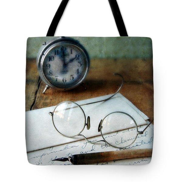 Letter Pen Glasses And Clock Tote Bag by Jill Battaglia