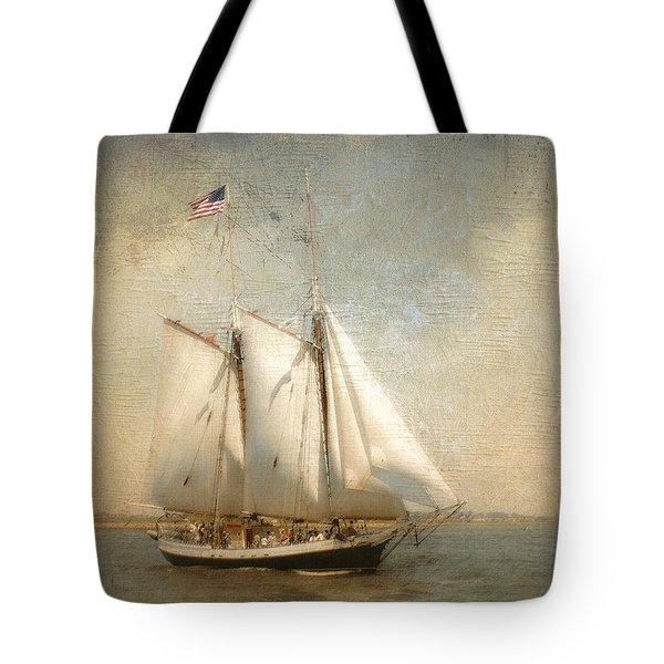 Liberty Clipper On Boston Harbor Tote Bag