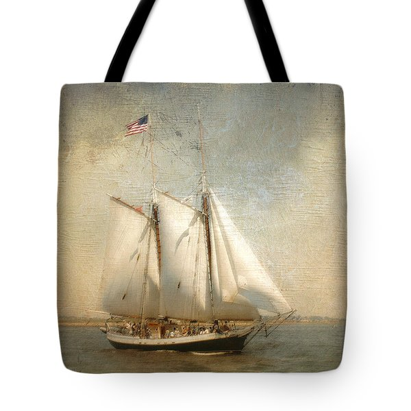 Liberty Clipper On Boston Harbor Tote Bag