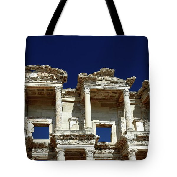 Library Of Celsus In Ephesus Tote Bag by Sally Weigand