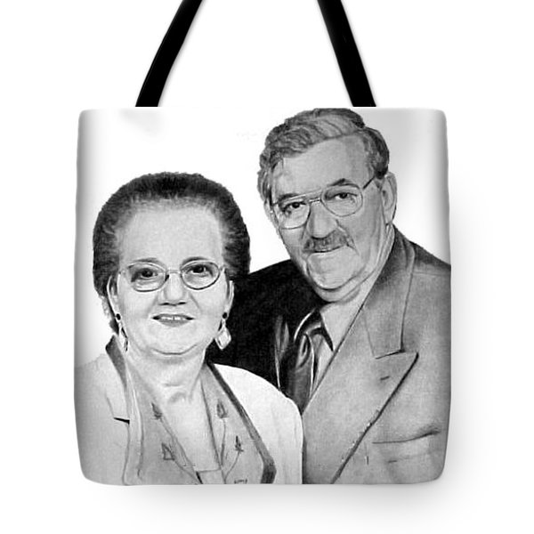 Tote Bag featuring the drawing Liduina And Vasco Bettencourt by Ana Tirolese