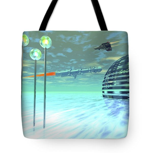 Life Under Domes On An Alien Waterworld Tote Bag by Corey Ford