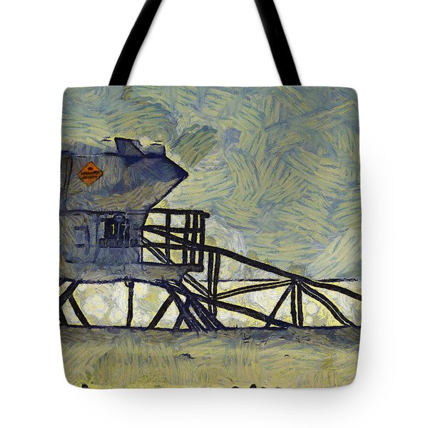 Lifeguard Station 17 Tote Bag by Ernie Echols