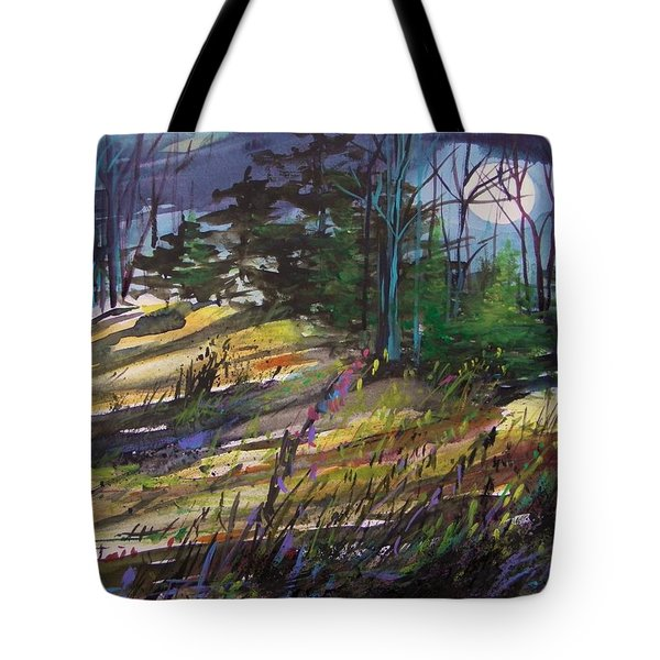 Tote Bag featuring the painting Light Against Indigo by John Williams