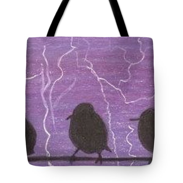 Tote Bag featuring the drawing Light Show At Purple Dawn - Aceo by Ana Tirolese