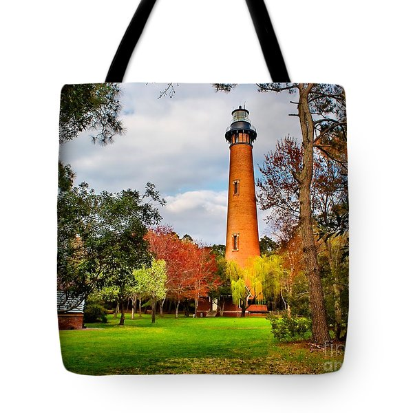 Lighthouse At Currituck Beach Tote Bag by Nick Zelinsky