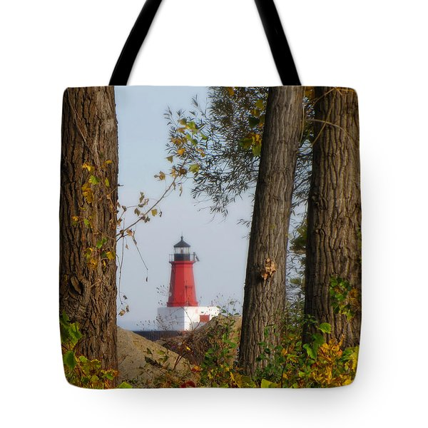 Lighthouse Mist Tote Bag