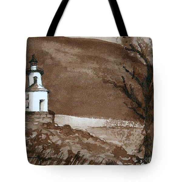 Lighthouse On Wisconsin Point Tote Bag