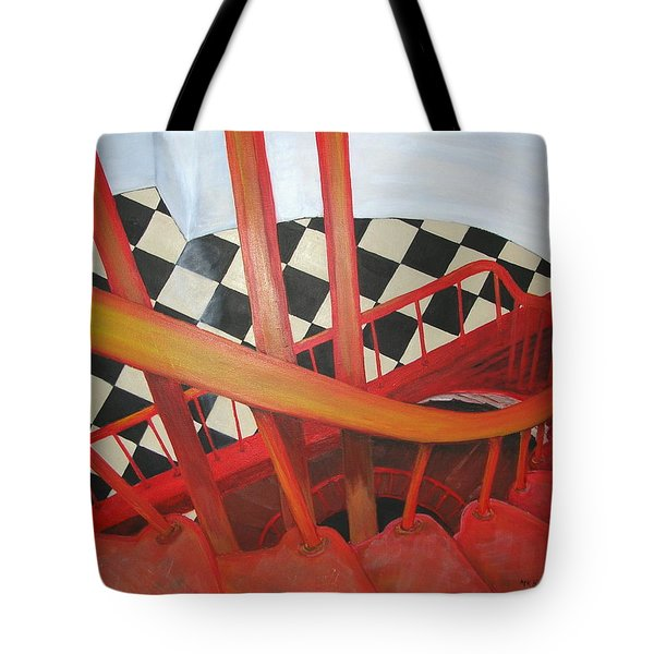 Tote Bag featuring the painting Lighthouse Staircase by Mary Kay Holladay