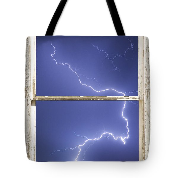 Lightning Strike White Barn Picture Window Frame Photo Art  Tote Bag by James BO  Insogna
