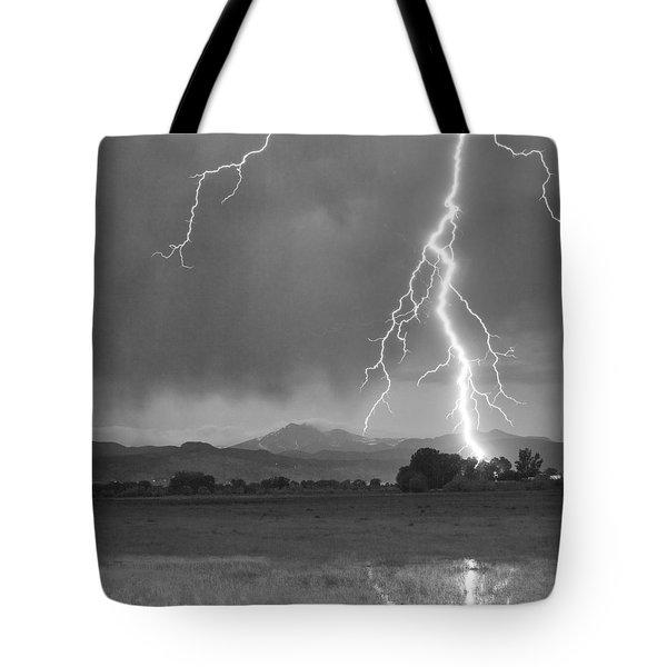 Lightning Striking Longs Peak Foothills 5bw Crop Tote Bag by James BO  Insogna