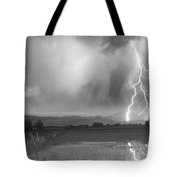 Lightning Striking Longs Peak Foothills 6bw Tote Bag by James BO  Insogna