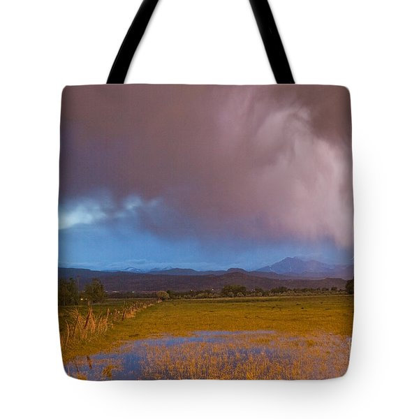 Lightning Striking Longs Peak Foothills 7 Tote Bag by James BO  Insogna