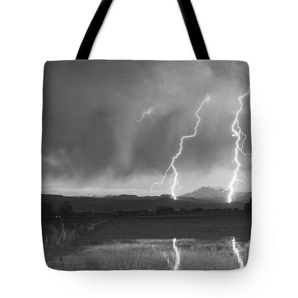 Lightning Striking Longs Peak Foothills Bw Tote Bag by James BO  Insogna