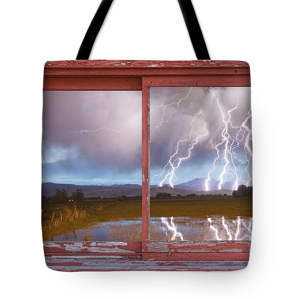 Lightning Striking Longs Peak Red Rustic Picture Window Frame Tote Bag by James BO  Insogna