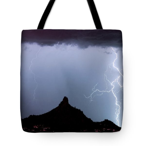 Lightning Thunderstorm At Pinnacle Peak Tote Bag by James BO  Insogna