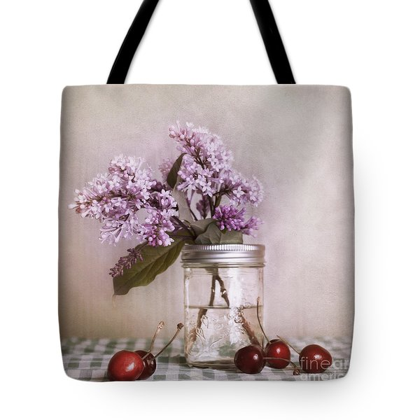 Lilac And Cherries Tote Bag by Priska Wettstein