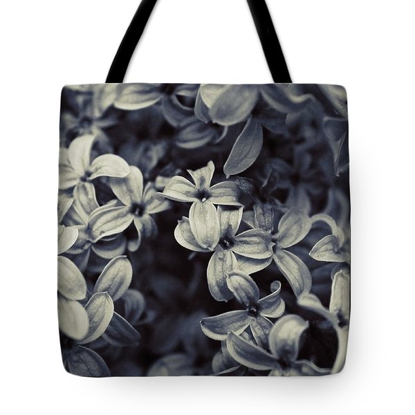 lilac close up in BW Tote Bag