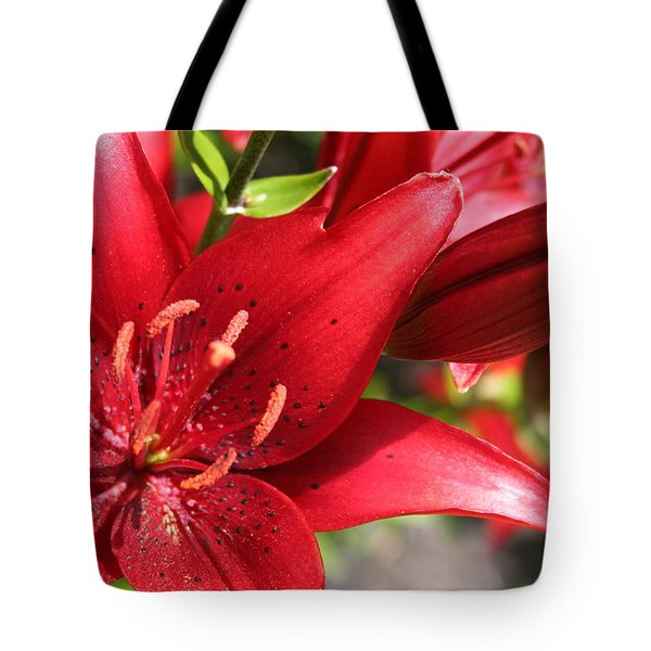 Tote Bag featuring the photograph Lilies In Red by Laurel Talabere