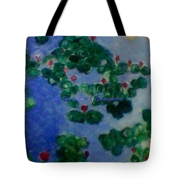 Tote Bag featuring the painting Lily Pond by Sonali Gangane
