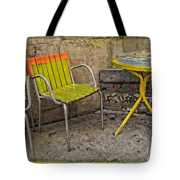 Lime Chairs Tote Bag by Joan  Minchak