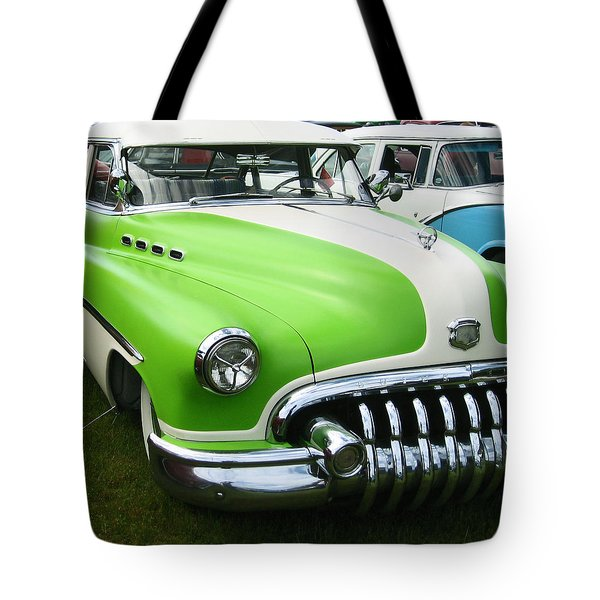 Lime Green 1950s Buick Tote Bag by Kym Backland