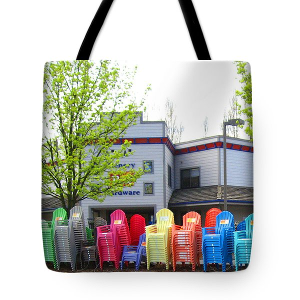 Line Of Rainbow Chairs Tote Bag by Kym Backland