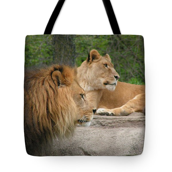 Lion And Lioness On Lookout Tote Bag