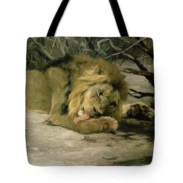 Lion Reclining In A Landscape Tote Bag