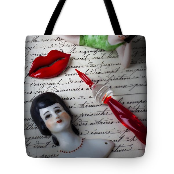 Lips Pen And Old Letter Tote Bag by Garry Gay