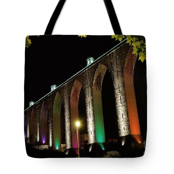 Lisbon Historic Aqueduct By Night Tote Bag