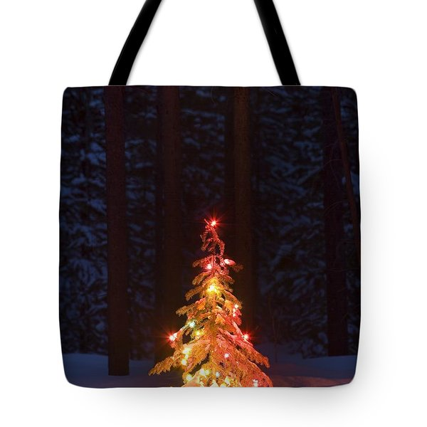 Lit Christmas Tree In A Forest Tote Bag by Carson Ganci