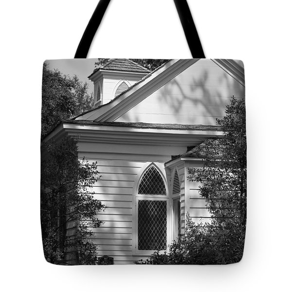 Little Chapel In The Woods In Black And White Tote Bag by Suzanne Gaff