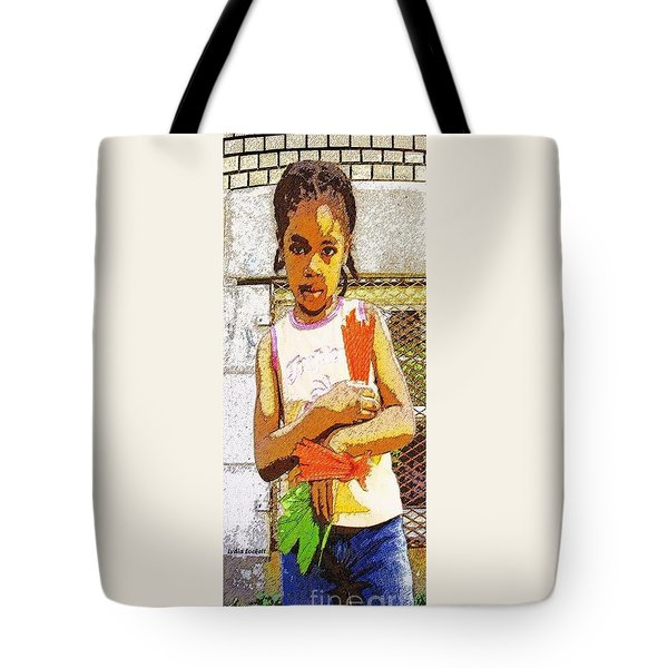 Little Girl With Red Licorice And Maple Leaf Tote Bag by Lydia Lockett