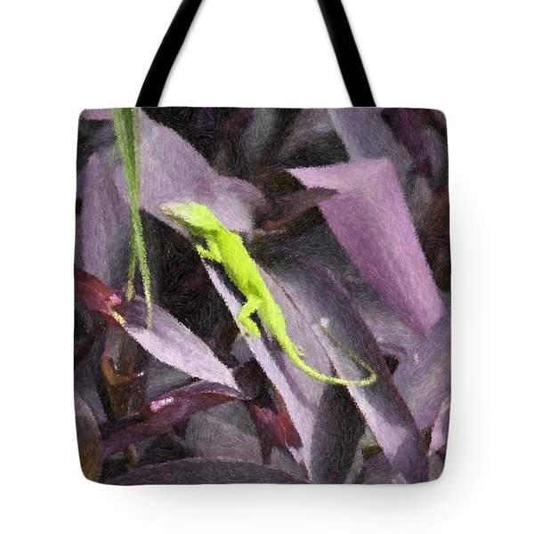 Little Green Lizard Tote Bag