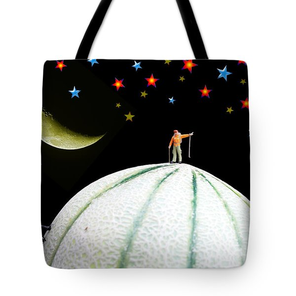 Little People Hiking On Fruits Under Starry Night Tote Bag by Paul Ge