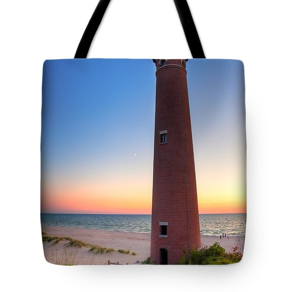 Tote Bag featuring the photograph Little Sable Point Light Station by Larry Carr
