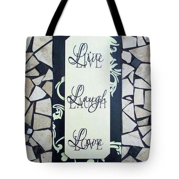 Live-laugh-love Tile Tote Bag by Cynthia Amaral