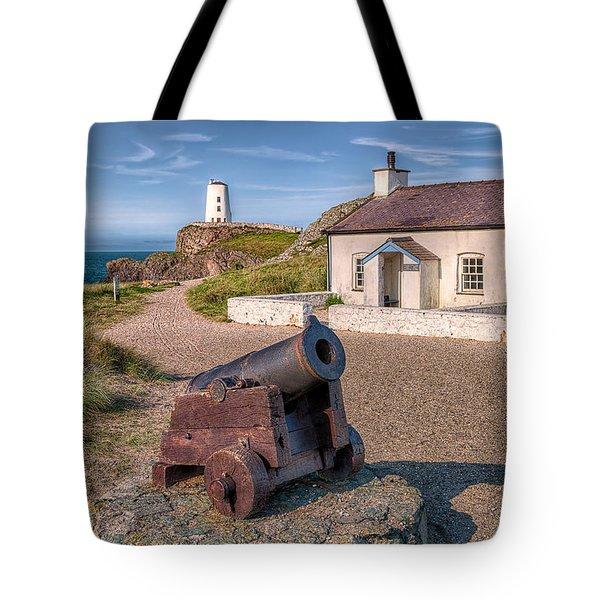Llanddwyn Cannon Tote Bag by Adrian Evans