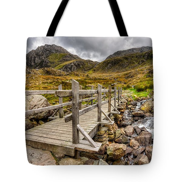 Llyn Idwal Bridge Tote Bag by Adrian Evans