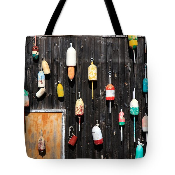 Tote Bag featuring the photograph Lobster Shack With Brightly Colored Buoys by Karen Lee Ensley